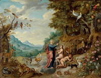 paradieslandschaft mit der erschaffung evas by jan brueghel the younger