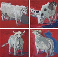 red bull 1, 2, 3 & 4 (4 works) by lucy culliton
