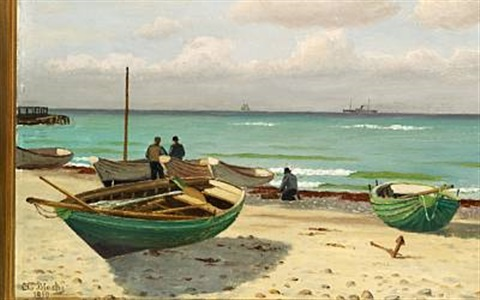 rowing boats on the beach by christian vigilius blache