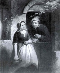 a man and a woman in a doorway by jacob akkersdijk