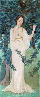 historiserande kvinnogestalt i trädgård by hubert de la rochefoucauld