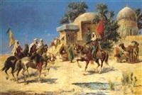 cavaliers et drapeaux près du mausolée by c. mérion