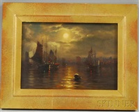 moonlit harbor by george w. waters