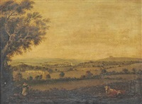 an extensive landscape with cattle, a girl and a dog in the foreground, a farmstead with a village and church beyond by julius caesar ibbetson