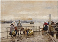 a market scene by a dutch harbour by hans herrmann