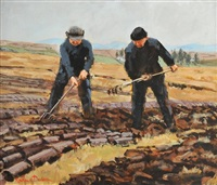 digging turf, near dungloe by rowland davidson