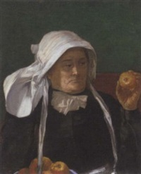 a breton woman with an apple by a.s. hartwick