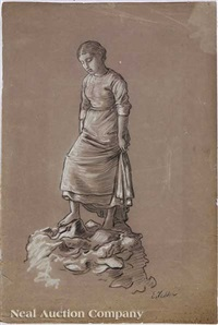 pensive female on rock by elihu vedder