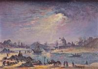 bateaux dans la baie au clair de lune by jean raffy le persan