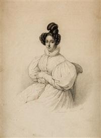 retrato de dama, de casi tres cuartos, sentada by maria del rosario weiss