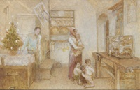 weihnachten im elternhaus, gemalt by franz rumpler