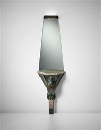 rare 'hibou' wall-mounted console with illuminated mirror by albert cheuret
