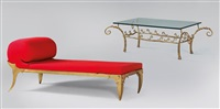xenia chaise longue (récamière) and side table (2 works) by anna golin