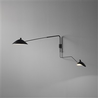 pivoting two-armed wall light with lampadaire and casquette shades, designed by serge mouille