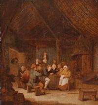 wirtshausszene mit zahlreichen personen by bartholomeus molenaer
