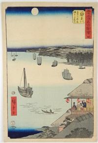 oban tate-e, les 53 stations du tokaido, station 4, vue de l'océan depuis la maison de thé sur la colline de kanagawa by ando hiroshige