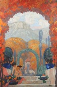 paysage provençal avec 2 enfants sur fond de montagne sainte-victoire by henri rapin