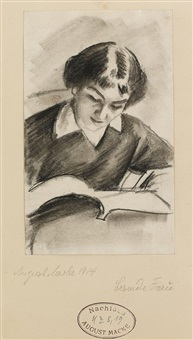 lesende frau by august macke