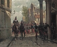 french infantery entering a town by hermanus willem koekkoek