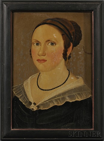portrait of a young woman wearing a beaded jet necklace and a black dress by american school prior hamblen 19