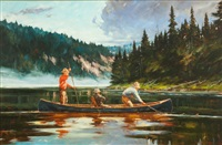 blue canoe by john swan