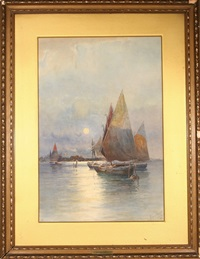 sailboats in venice by prosper louis senat