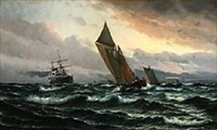 seascape with sailing ships in high waves by vilhelm victor bille