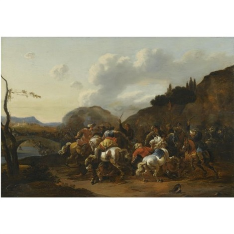 a battle skirmish between christians and turks by simon johannes van douw