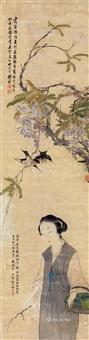 紫藤双燕 仕女 立轴 纸本设色 by qian zai and gai qi