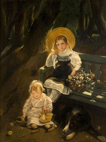 portrait des enfants de madame morel danville dans un parc by paul hippolyte delaroche