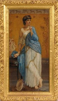 pandora standing holding a pipe by augustus jules bouvier