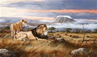 lions overlooking the plains by trevor swanson