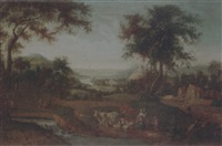 an extensive river landscape with drovers and their animals by anglo-dutch school (18)