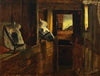 horses in a stable by hans ludvig smidth