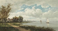 windmills near the kinderdijk by hendrik barend koekkoek