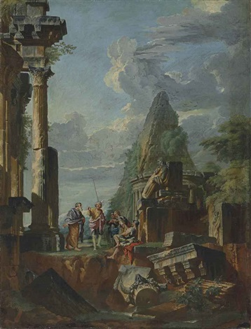 a capriccio of roman ruins, with the belvedere antinous and a pyramid beyond, with an apostle preaching to soldiers by giovanni paolo panini