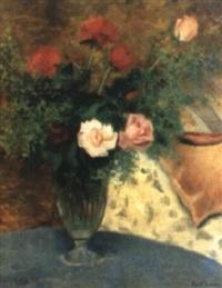 stilleben med blommor i vas by knut janson