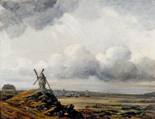 paysage au ciel orageux et moulin by georges michel