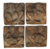 medieval musicians tiles (set of 4) by batchelder tiles