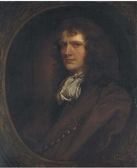 portrait of a gentleman in a brown coat and white cravat by john greenhill