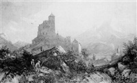 figures in an alpine pass with a monastery by henry gastineau