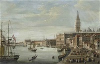 the doge's palace with the campanile, the libreria marciana and santa maria della salute beyond by italian school-venetian (19)