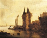 a river estuary with a sailing boat by a fortified town by maerten fransz van der hulst
