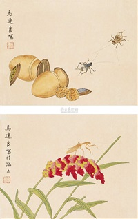工笔草虫双挖 (various sizes; set of 2) by ma lianliang
