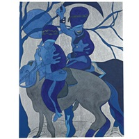 blue riders (eye for eye, tooth for tooth) by chris ofili