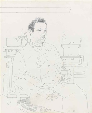 peter langan seated in the kitchen at odins by david hockney