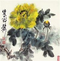 花卉 镜片 设色纸本 by xie zhiliu