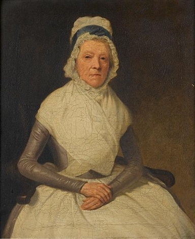 portrait of an elderly lady seated half length in a grey dress with a white shawl and a white cloth cap portrait of a lady seated half length in a black dress and a white cloth cap holding a bo by samuel de wilde