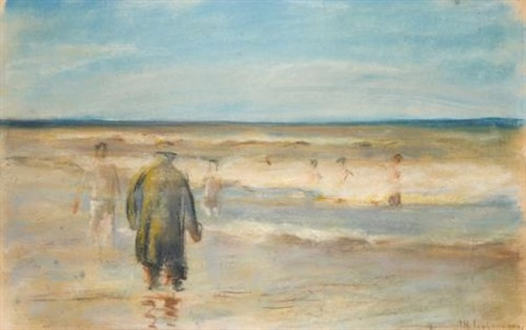 badende mit badewärter noordwijk aan zee bathers with lifeguard noordwijk on the sea by max liebermann
