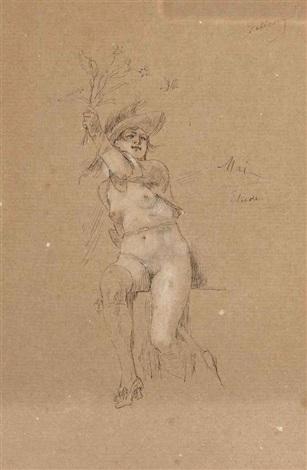 femme nue assise tenant des fleurs un satyre lrgr 2 works by félicien joseph victor rops